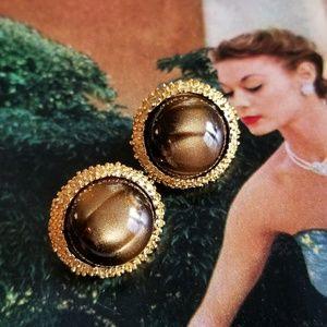 Vintage Crown Trifari brown moonglow clip earrings